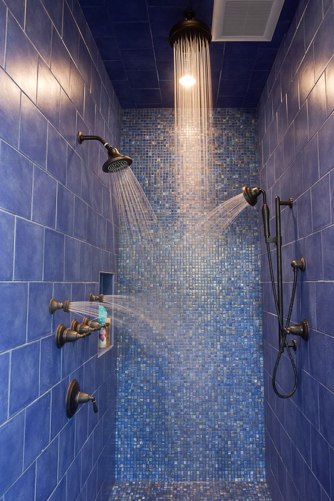 Kohler Shower Systems   Contemporary Bathroom Also Blue Tile Dark Hardware Double Showerheads Mosaic Tile Niche Rain Showerhead Spray