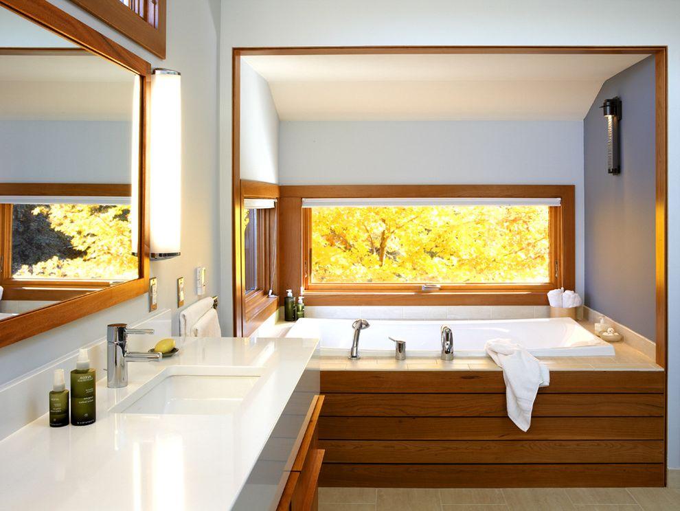 Kohler Tub Surround   Modern Bathroom Also Alcove Bathroom Lighting Blue Walls Neutral Colors Niche Nook Wood Molding Wood Tub Surround Zen