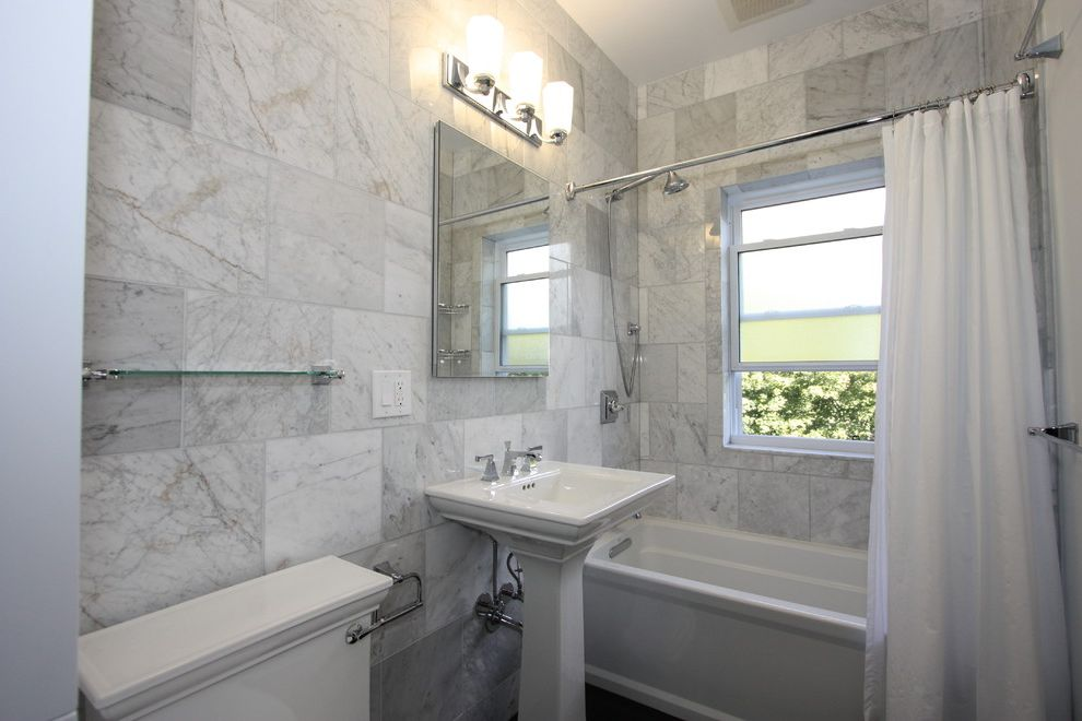 Kohler Villager Tub   Eclectic Bathroom  and Bath Tub Frosted Glass Glass Shelf Marble Mirror Pedestal Sink Shower Curtain Soaking Tub Tile Wall Wall Sconce White