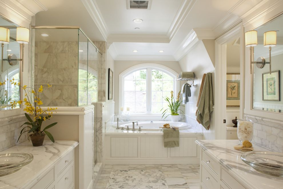 Kohler Villager Tub   Traditional Bathroom Also Amazing Bath Arched Window Bead Board Double Sinks Glass Shower Enclosure Marble Counter Marble Floor Soaking Tub Tray Ceiling Vessel Sinks Wall Sconces White