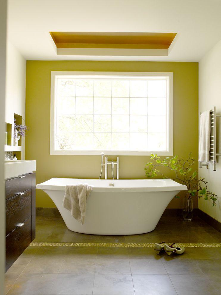 Kohler Villager Tub with Contemporary Bathroom Also Accent Wall Floral Arrangement Green Wall Minimal Pebble Tiles Tile Stripe Towel Warmer Zen