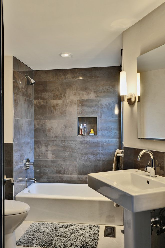 Kohler Villager Tub with Contemporary Bathroom Also Bath Mat Ceiling Lighting Neutral Colors Niche Pedestal Sink Recessed Lighting Sconce Shower Rub Tile Walls Wall Lighting