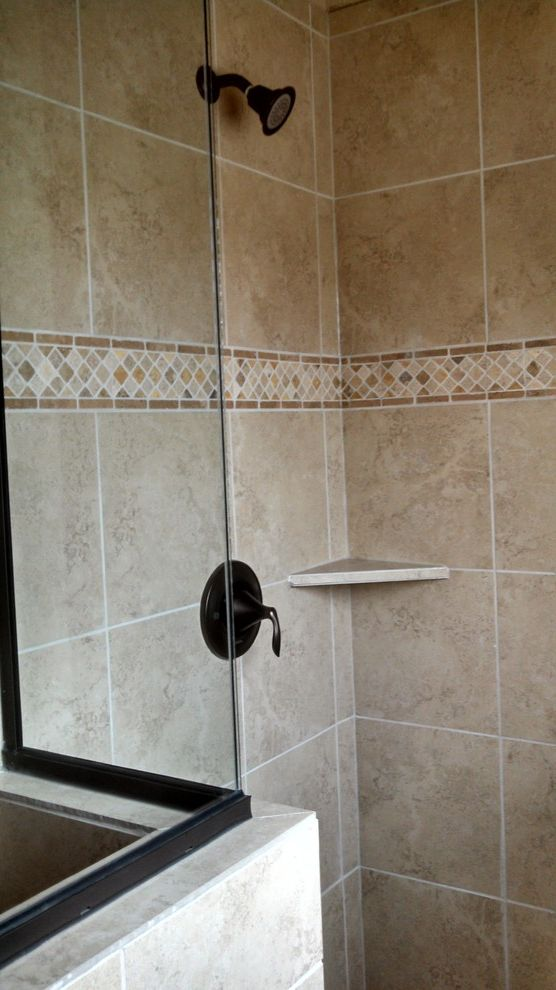 Kurk Homes   Traditional Bathroom  and Backsplash Master Shower Tile Walk in Shower