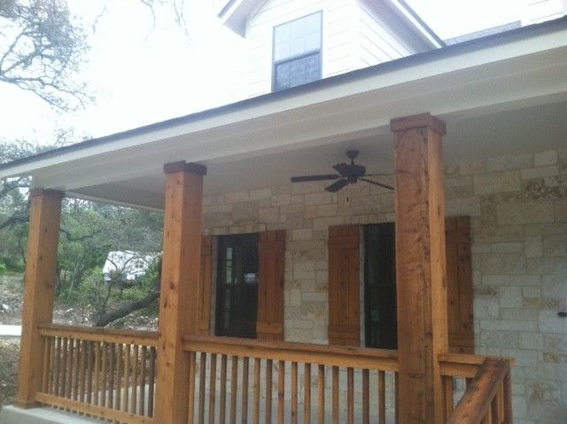Kurk Homes   Traditional Porch Also Cedar Porch Cedar Shutters Hill Country Stone Texas