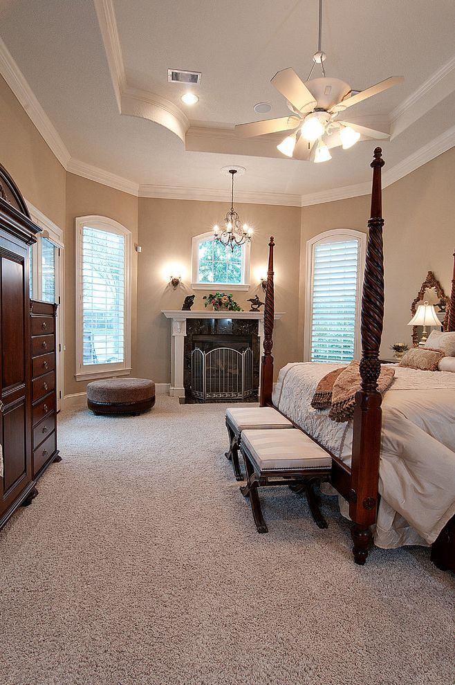 Kurk Homes with Mediterranean Bedroom Also Beautiful Master Bedroom Fireplace and Pop Up Ceiling with Crown