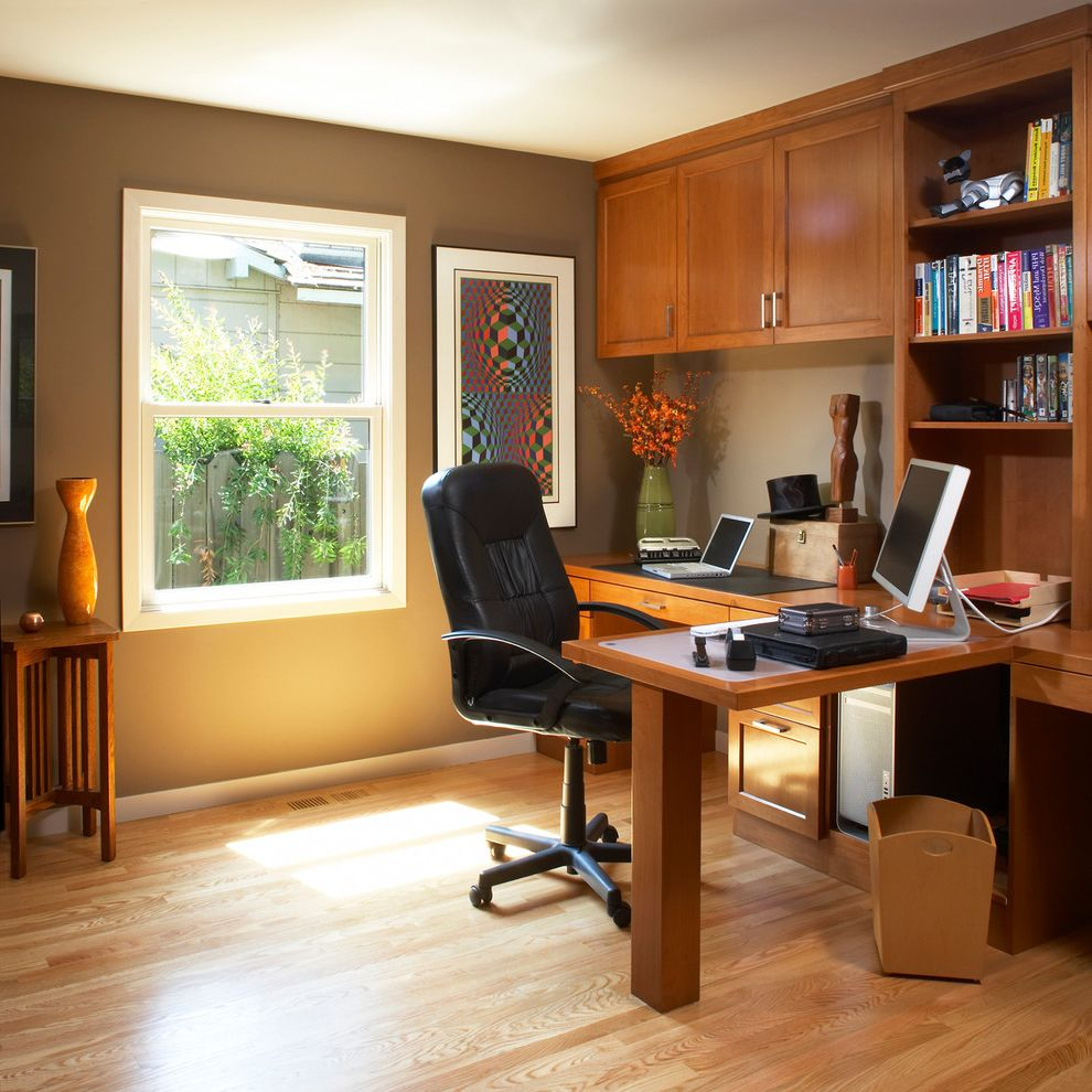 L Shaped Desk With Side Storage Multiple Finishes Traditional Home Office  And Black Office Chair Bookshelves
