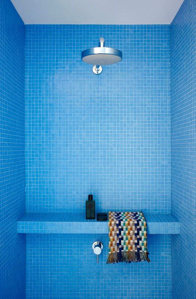 La Belle Day Spa with Modern Bathroom  and Bench Blue Colorful Mosaic Tile Rain Shower Shower Ledge Shower Stall Woven Towel