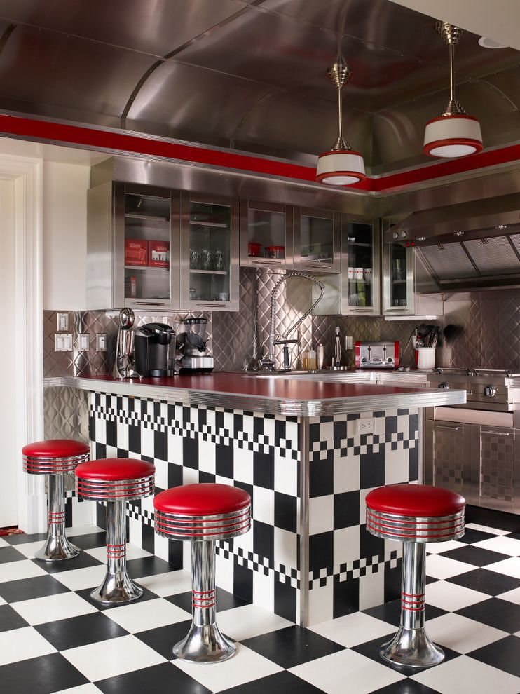 La Gorce Country Club with Eclectic Kitchen Also 50s Diner Checkered Floor Cooktop Fun Glass Panel Cabinets Metallic Cabinets Metallic Ceiling Red Accents Soda Shop Stools Themed