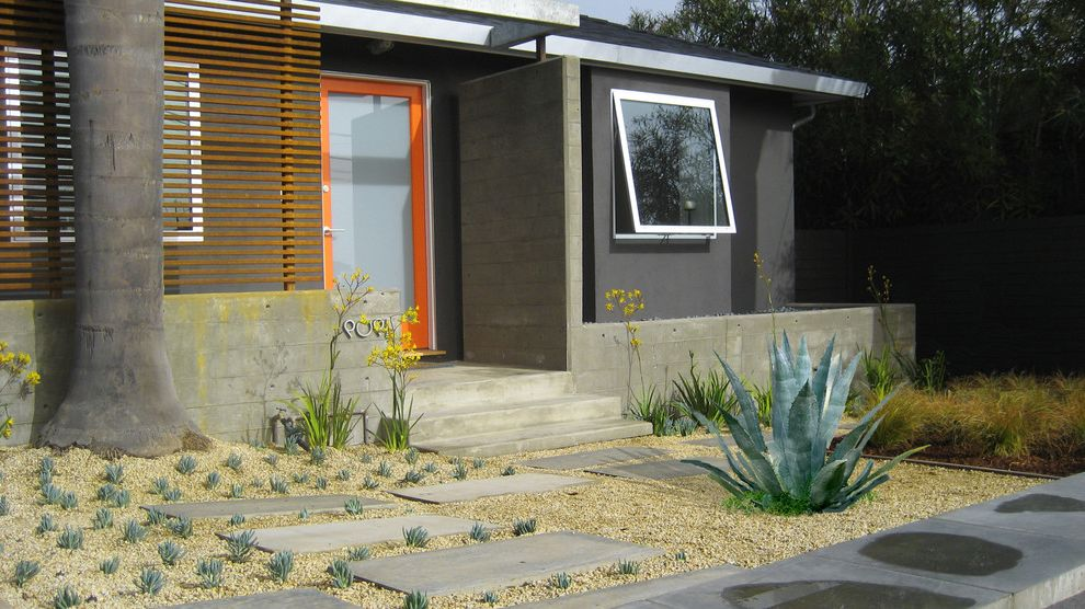 La Habra Stucco   Contemporary Exterior Also Concrete Concrete Pavers Front Door Front Entrance Frosted Glass Door Gravel Landscape Modern Landscape Orange Front Door Wood Fence