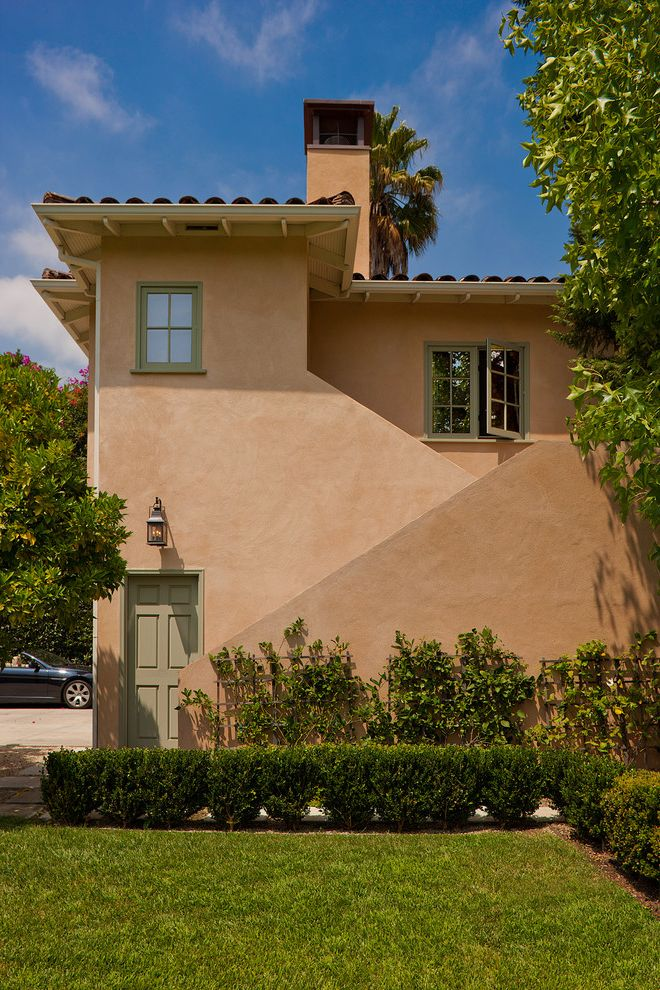 La Habra Stucco   Mediterranean Exterior  and Front Entrance Green Windows Landscape Stairs Stucco Terra Cotta