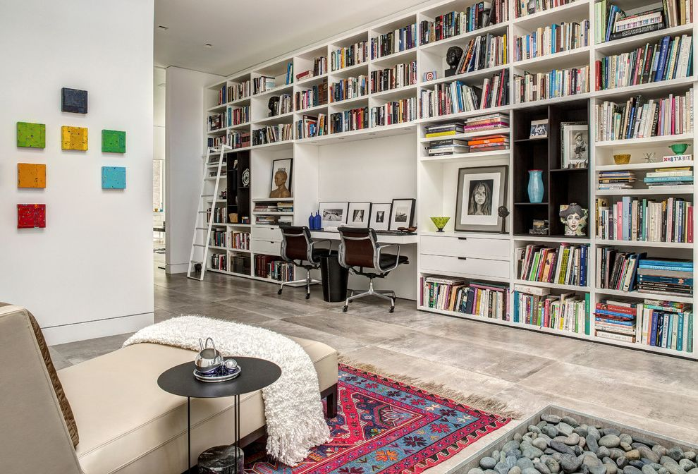 La Habra Stucco   Midcentury Home Office  and Area Rugs Art House Built in Bookcases Custom Day Beds and Chaises Desk Chair Glazing La Habra Stucco Library Ladder Masonry Palm Springs Solar Sustainable Vmzinc Wall Art