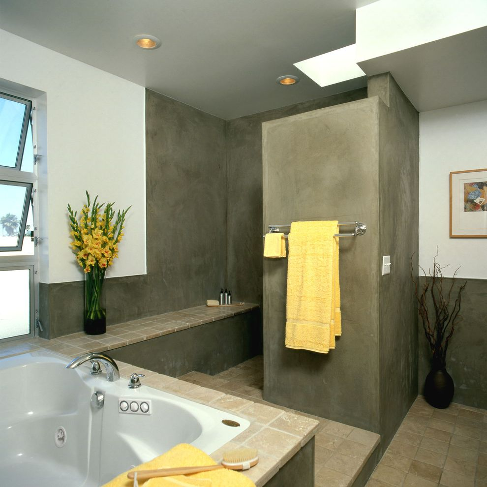 La Habra Stucco   Modern Bathroom  and Accent Color Bath Plaster Seat Shower Skylight Towels Tub Windows