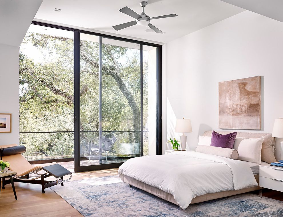 Lady Bird Johnson Wildflower Center Austin Tx with Contemporary Bedroom Also Ceiling Fan Chaise Lounge Dekc Indoor Outdoor Sliding Glass Door Wall Art White Bedding