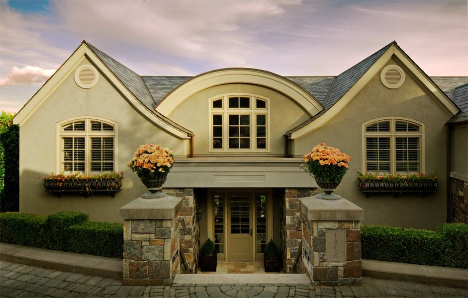 Lakeshore at Preston with Traditional Entry Also Arch Arched Down Entry Foyer Glass Limestone Slate Slope Split Level Stone Stucco Travertine