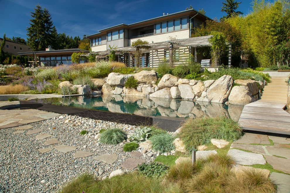 Lakeside Natural Medicine   Beach Style Landscape  and Beachside Landscape Boulders Climbing Plants Exposed Landscape Full Sun Infinity Edge Pool Ornamental Grasses Pebbles Stepping Stones Trellis Wood Pergola Wooden Bridge Over Pool