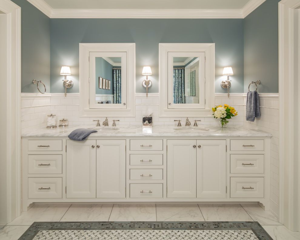 Lakeside Natural Medicine   Traditional Bathroom  and Colonial Double Sink Ensuite His Hers Sink Jack and Jill Bathroom Lake Harriet Minneapolis Mirror Front Cabinets Mosaic Tile Flor Painted Cabinets Subway Tile Traditional Lighting