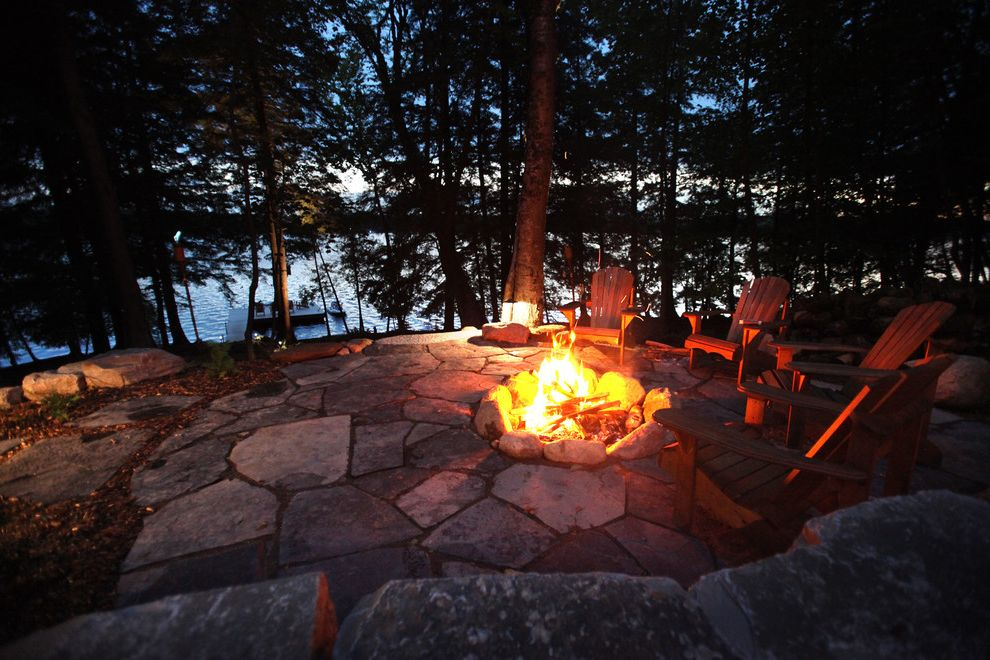 Lakeside Natural Medicine with Traditional Landscape Also Adirondack Chair Armour Stone Cottage Landscape Fire Pit Flagstone Forest Hardscaping Landscape Lighting Natural Landscape Nightscaping Patio Stone Wall Stonework