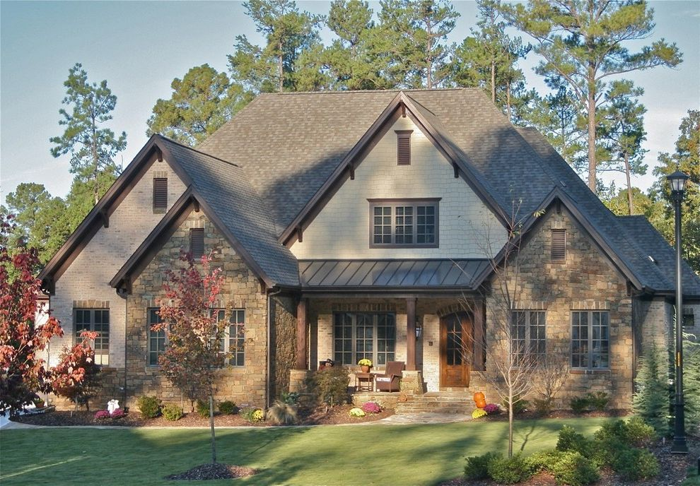 Landmark Weathered Wood   Traditional Exterior  and Mahogany Door Old World Raleigh Scott Daves Stone Arch Stone Brick Timber Post Timbers Water Glass