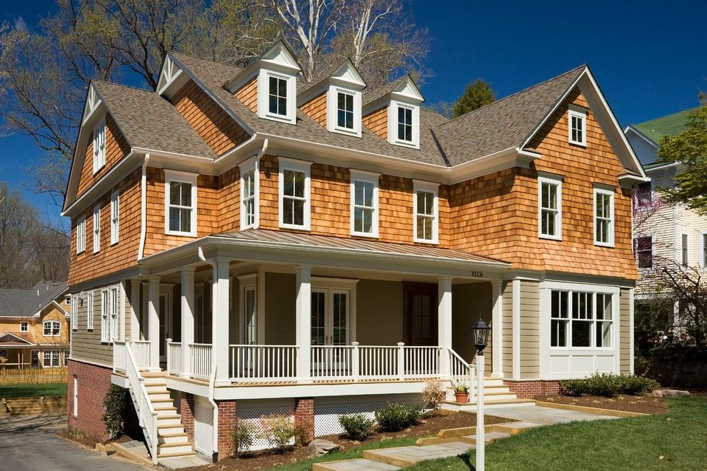 Landmark Weathered Wood   Victorian Exterior  and Bay Window Brick Foundation Concrete Steps Dormers Gable Roof Lap Siding Lawn Path Porch Traditional Shingle Style Farmhouse White Trim