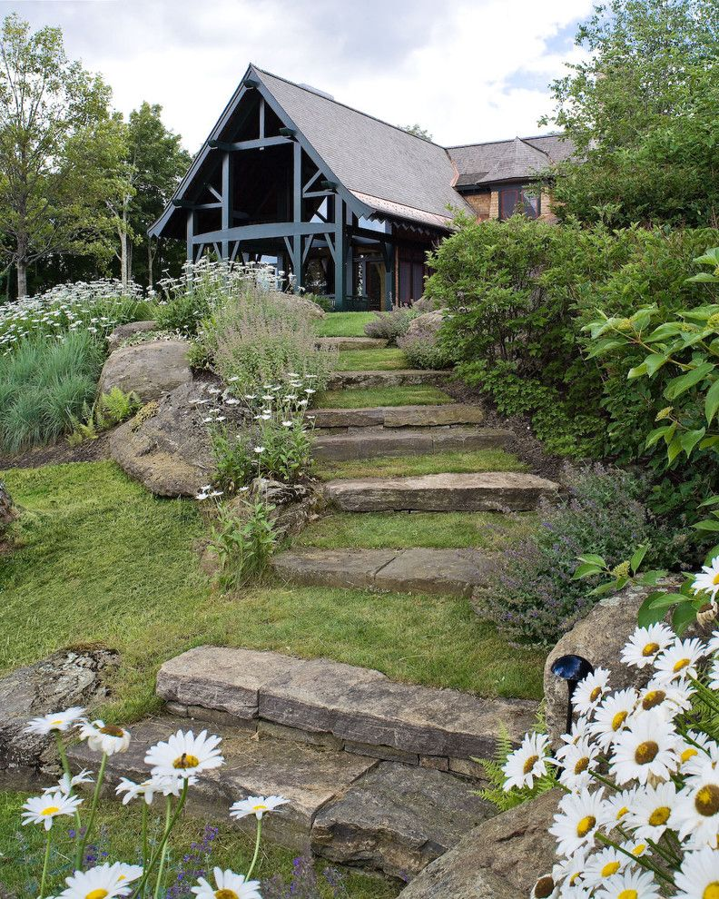 Landscape Supply Greenville Sc   Contemporary Landscape  and Boulders Dark Trim Exterior Flowers Gable Roof Garden Steps Grass Landscape Steps Mass Planting