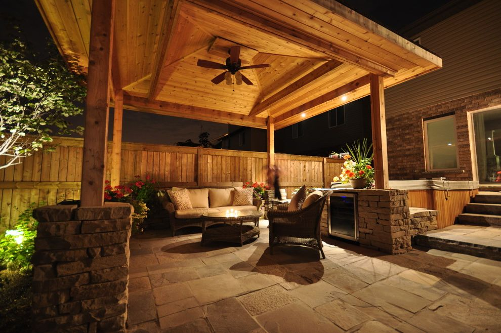 Landscapers Depot   Traditional Landscape Also Covered Patio Creative Landscape Depot Indoor Outdoor Living Pergola Square Cut Flagstone Stone Pillar