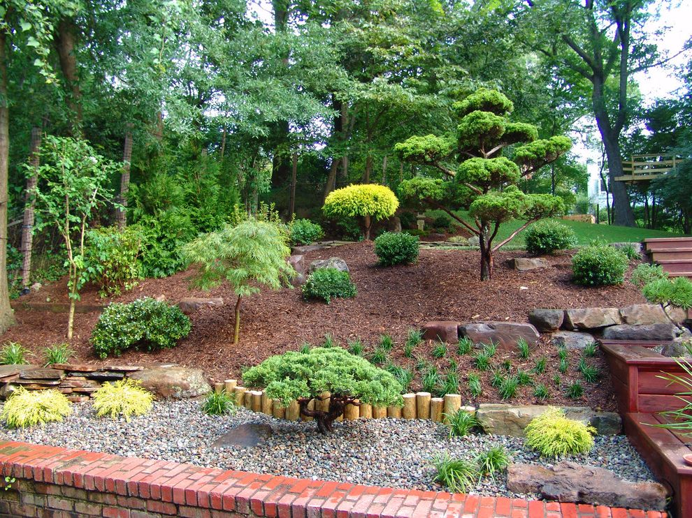 Landscapers Near Me   Asian Landscape  and Asian Landscape Asian Tree Bushes Hill Landscape Hilltop Landscape Mulch Private Red Brick Wall River Rock Rock Landscape Shrubs Trees