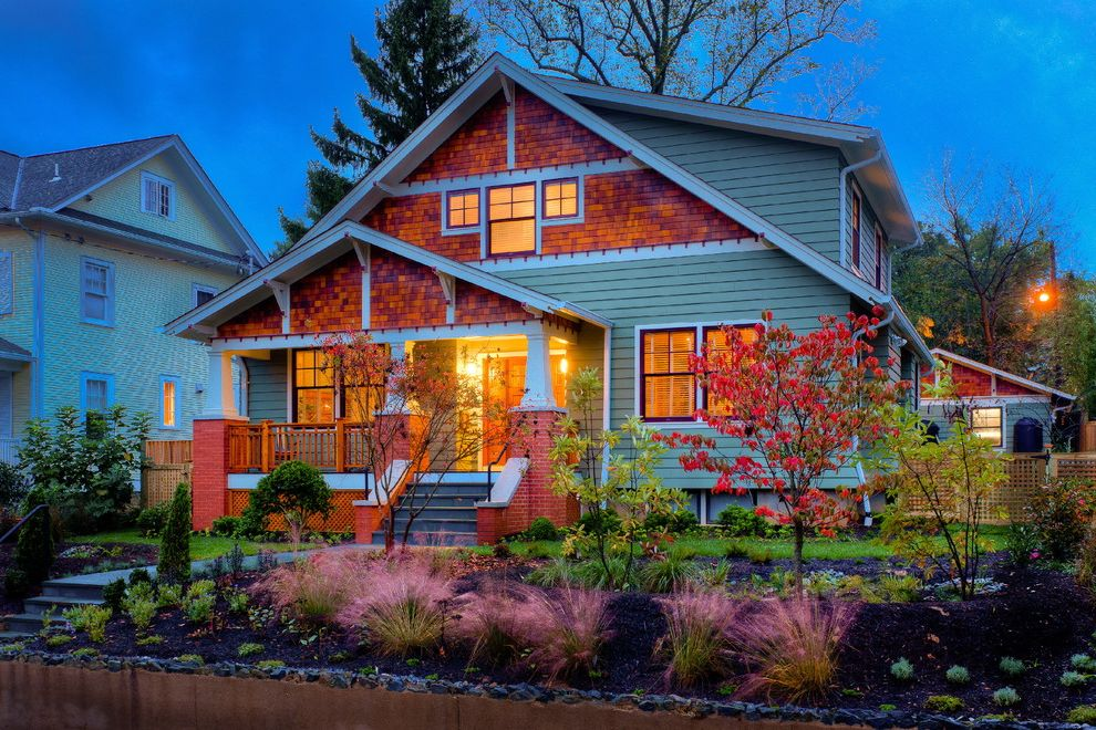 Landscaping Bismarck Nd with Traditional Exterior  and Bungalow Entrance Entry Feather Grass Front Porch Grass Landscape Lawn Mass Planting Night Ornamental Grass Shingle Siding Turf Wood Siding