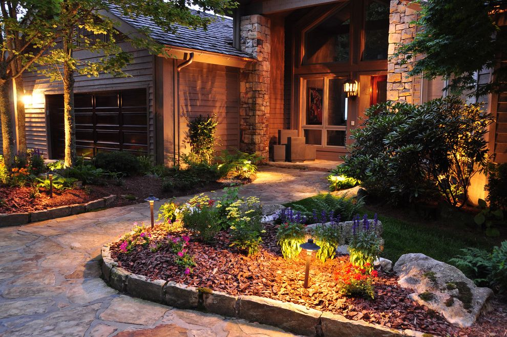 Landscaping Cary Nc with Traditional Landscape  and Entry Outdoor Lighting Path Lights Planter Edge Design Stacked Stone Columns Stone Walkway Wood Door Trim Wood Siding