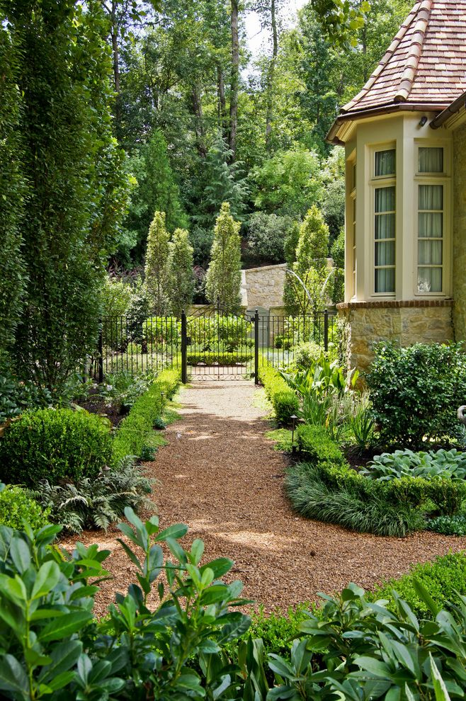 Landscaping Rock Louisville Ky with Traditional Landscape Also Bay Window Boxwood Evergreens Fern Gate Gravel Path Hedges Iron Fence Italian Garden Lambs Ear Mondo Grass Pool Side Yard Stone Exterior