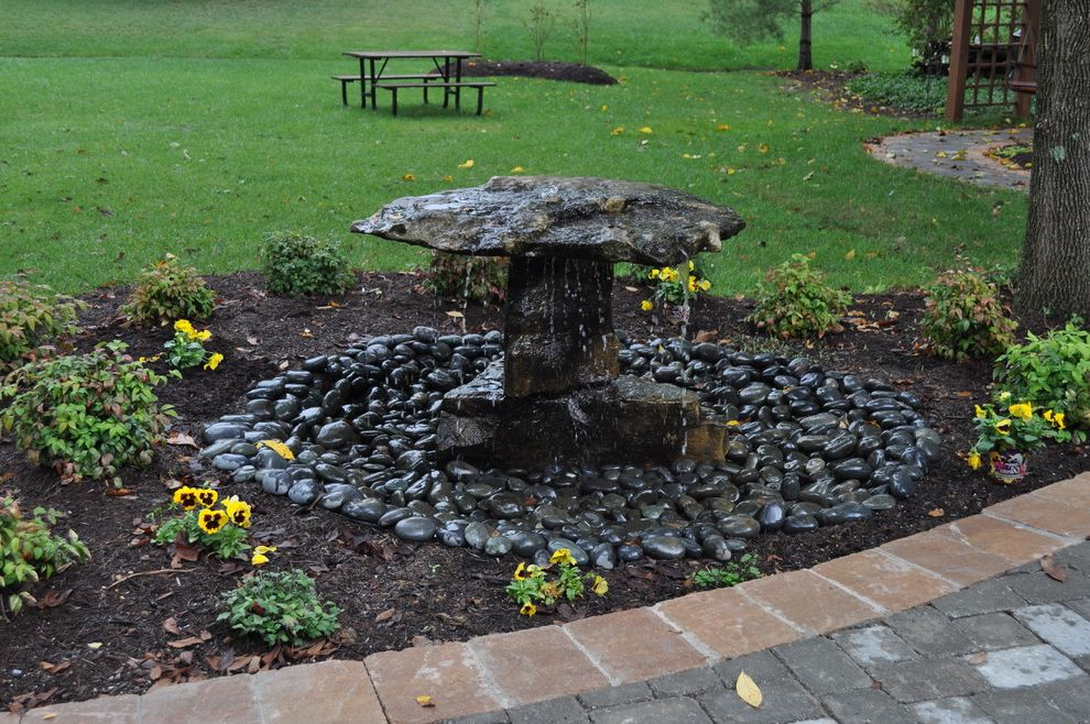 Landscaping Rock Louisville Ky with Traditional Landscape  and Grass Lawn Natural Water Feature Natural Water Fountain River Rock River Rock Fountain River Rock Landscape Rock Water Feature Rock Water Fountain Rock Waterfall Yellow Flowers
