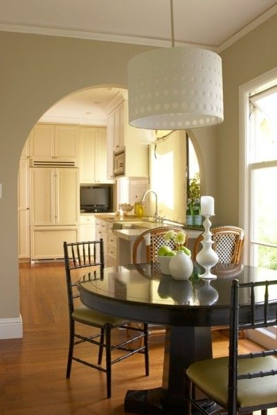 Large Drum Light Fixture with Traditional Kitchen Also Arch Eat in Kitchen Neutral