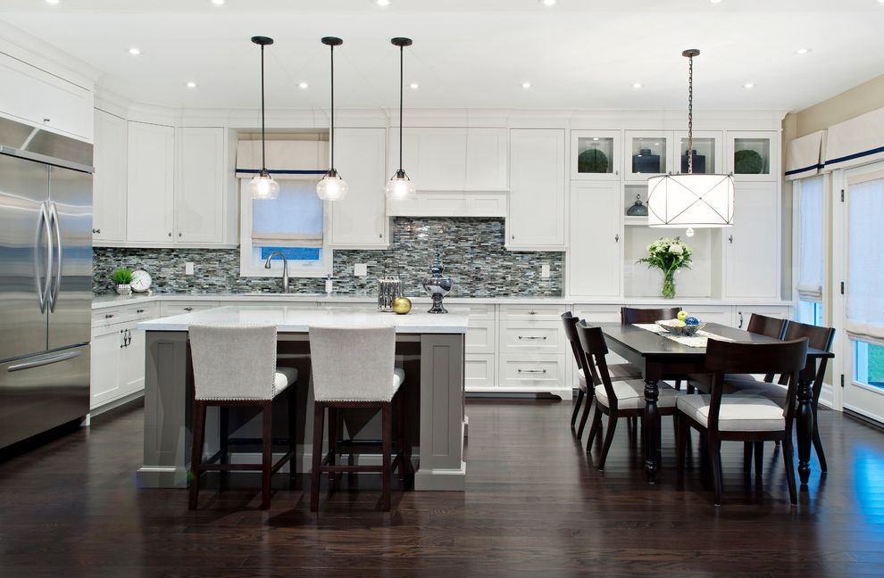 Large Drum Light Fixture with Transitional Kitchen Also Cornice Boards Dark Stained Wood Floor Drum Pendant Eat in Kitchen Island Seating Kitchen Island Pendant Lights