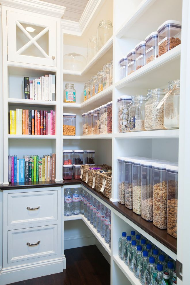 Large Flour Container   Traditional Kitchen Also Cereal Cookbook Shelves Drawers Food Storage Glass Canisters Kitchen Organization Ideas Kitchen Pantry Organization Oatmeal Water Storage