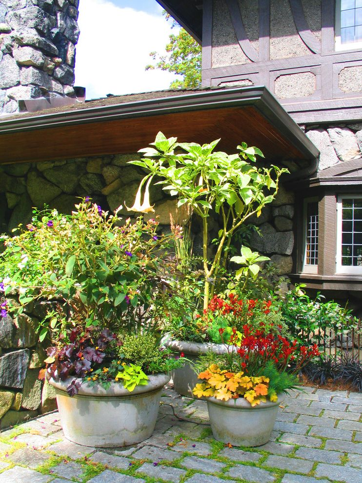 Large Flour Container   Traditional Landscape  and Brick Paving Container Plants Cottage Garden Patio Permeable Paving Potted Plants Rock Wall Stacked Stone Stone Paving Stone Wall Trumpet Vine Tudor Style