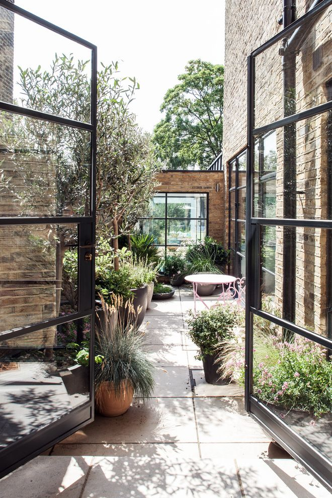 Large Flour Container with Industrial Patio  and Architects Brick Siding Contemporary Extension Floor Planters Garden London Metal Frame French Doors Patio Pink Patio Furniture Quality Refurbishment