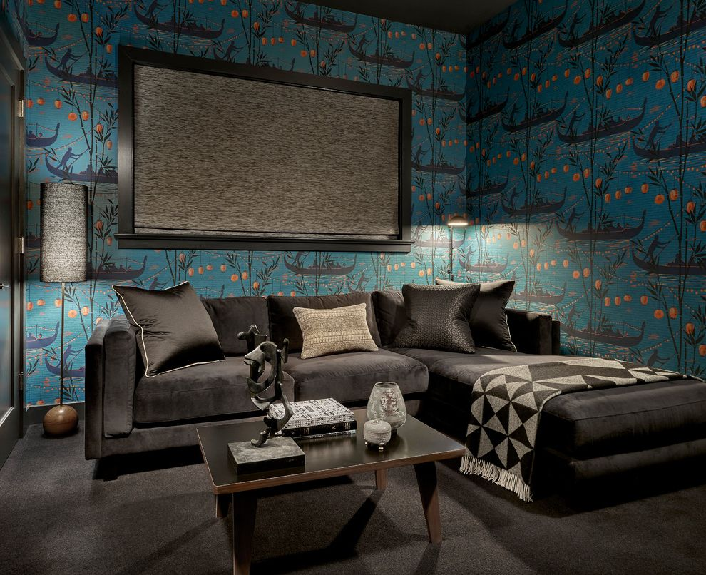Large Prints for Walls   Contemporary Family Room  and Black Window Trim Coffee Table Dark Colors Dramatic Floor Lamp Large Print Wall Paper Patterned Wall Paper Patterned Wallpaper Pillows Print Wall Paper Sectional Sofa Throw Wallpaper