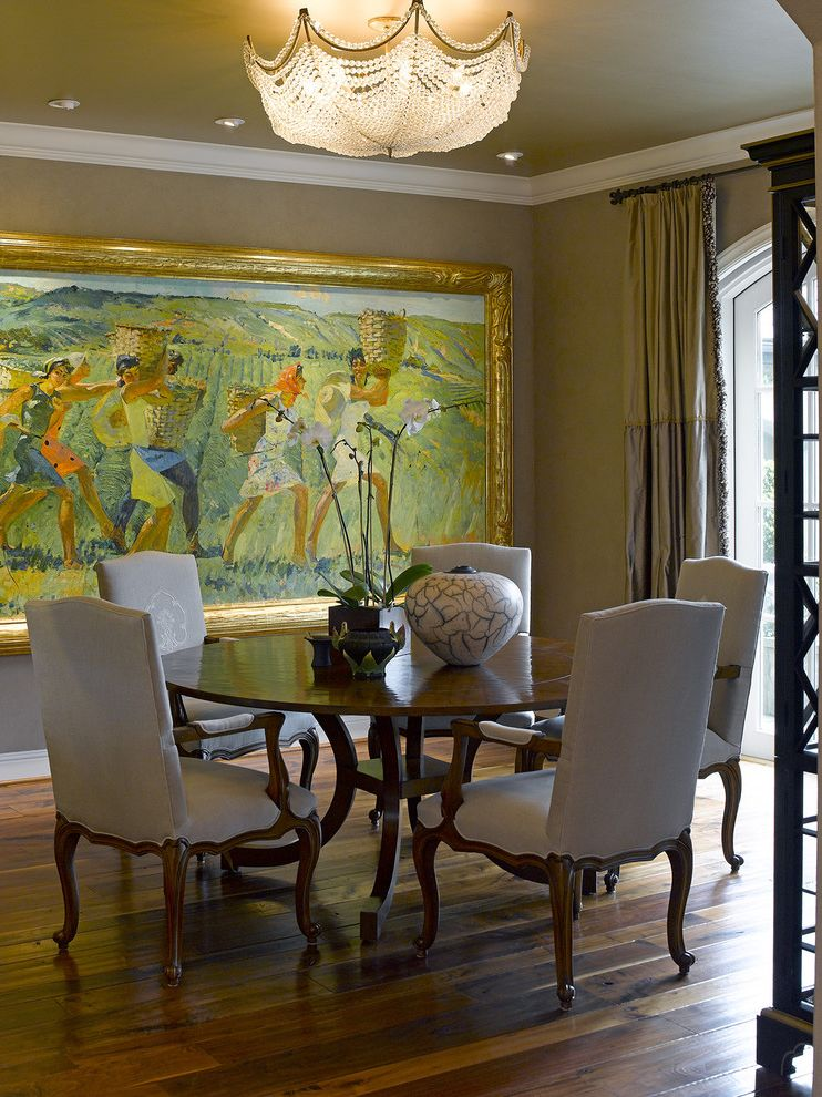 Large Prints for Walls   Traditional Dining Room Also Artwork Chandelier Crown Molding Dining Chairs Dining Room Dining Table Painted Ceiling Painting Plaster Walls Round Dining Table Wall Art Wall Decor Window Treatments Wood Flooring Wood Floors