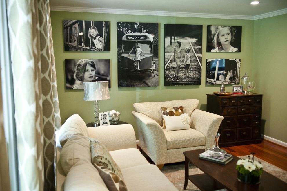 Large Prints for Walls   Traditional Living Room Also Area Rug Black and White Photography Curtains Glass Lamp Green Walls Living Area Pillows Seating Area White Couch Wood Floor