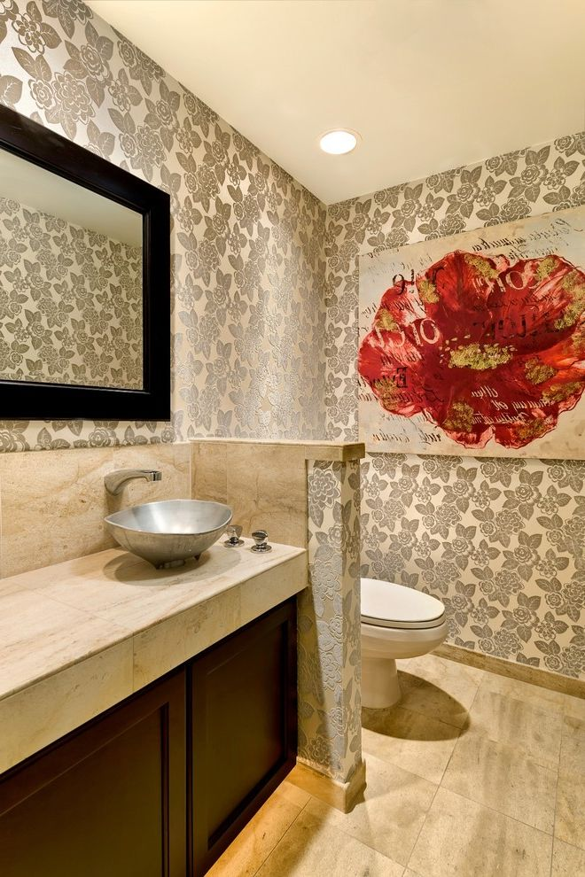Large Prints for Walls with Contemporary Powder Room Also Artwork Backlighting Floral Wallpaper Half Wall Metal Sink Neutral Colors Pony Wall Powder Room Red Accent Toekick Light Travertine Vessel Sink Wall Art Wall Decor Wall Mount Faucet Wallpaper
