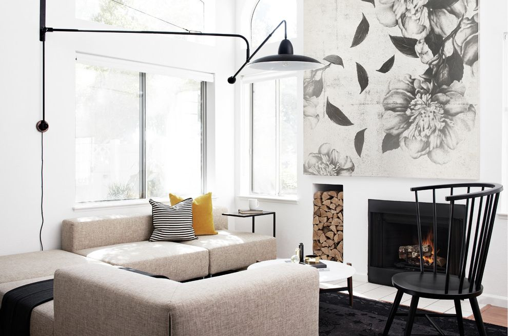 Large Prints for Walls with Scandinavian Living Room  and Black Chair Black Rug Cocktail Table Cushions Fireplace Industrial Sconce Large Wall Art Log Storage Natural Light Scandinavian Sectional Sofas Side Table Sitting Area White Wall Window
