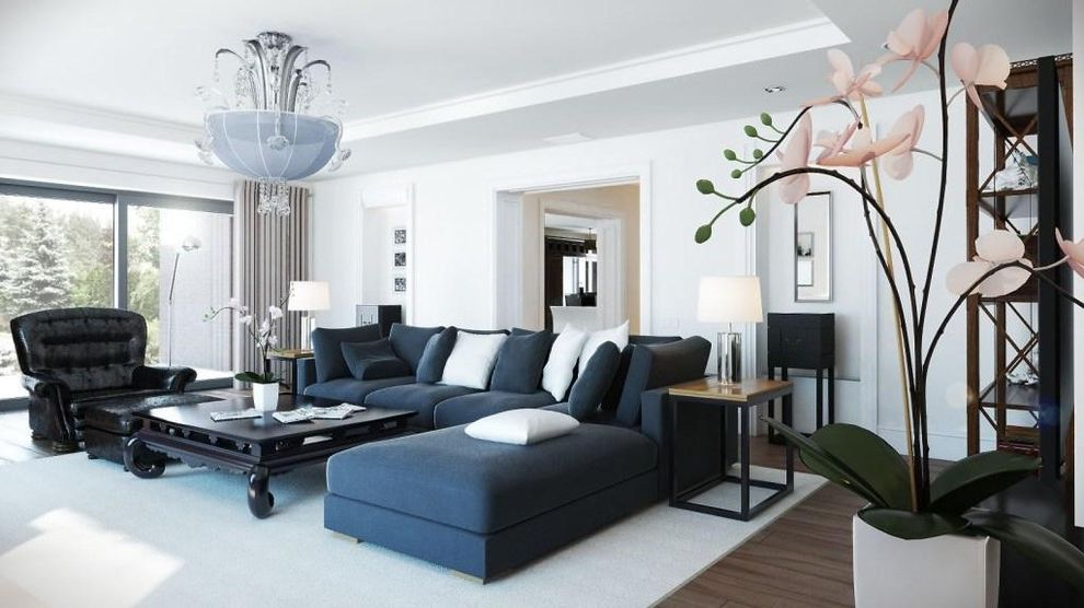Large Sectional Sofa with Ottoman   Transitional Family Room  and Decor Furniture Interior Design