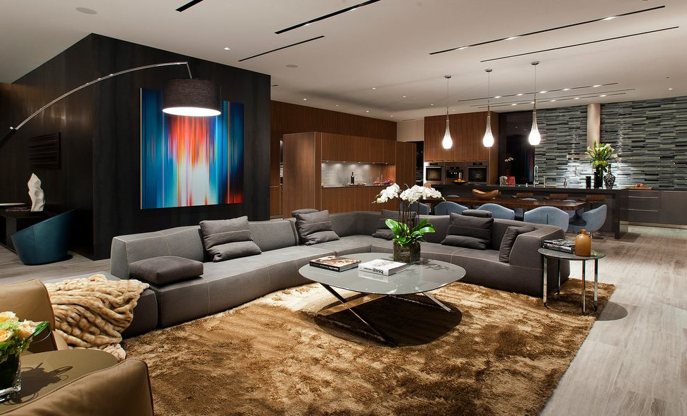 Las Vegas Entertainment Productions with Contemporary Family Room  and Arc Lamp Coffee Table Open Concept Sectional Shag Rug Side Table