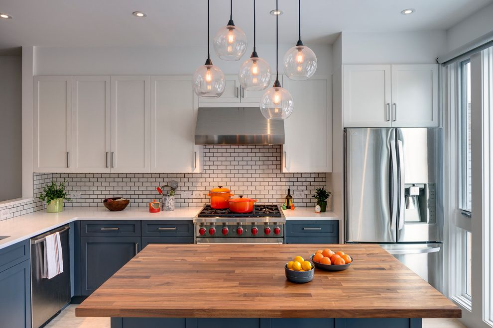 Laticrete Grout Colors with Transitional Kitchen Also Blue and Whiteorange Pops of Color Butcher Block Island Globe Pendant Light Recessed Lighting Savoy Tile From Ann Sacks Shaker Style Walnut Counter Top