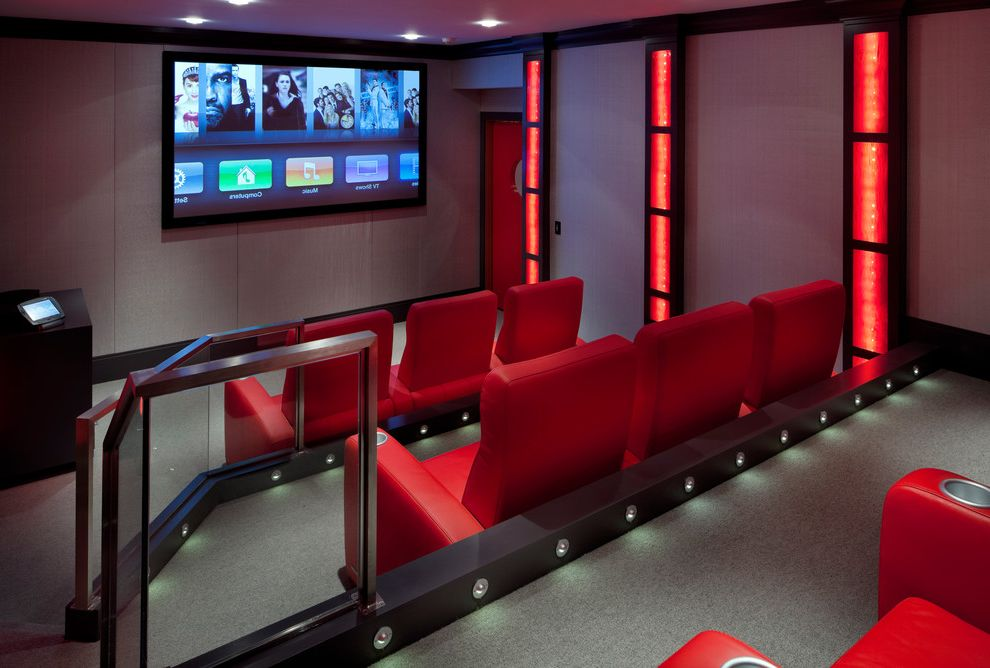Laurel Movie Theatre   Contemporary Home Theater Also Gray Carpet Home Theater Movie Room Red Red Lights Red Seats Stadium Seating