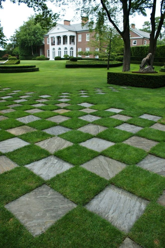 Lawn Care Chattanooga   Traditional Landscape  and Arch Arched Windows Brick House Formal Garden Grass Checkerboard Hedge Lawn Pediment Slate Speciman Trees Statue Topiary