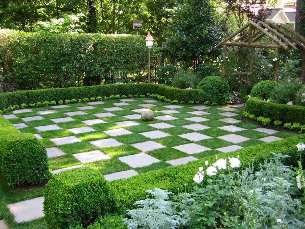Lawn Care Chattanooga   Traditional Landscape  and Checkerboard Checkers Chess Chess Board Grass Checkerboard Hedges Lawn Life Size Checkerboard Limestone Natural Checkerboard Stone Pavers Timber Arbor White Flowers