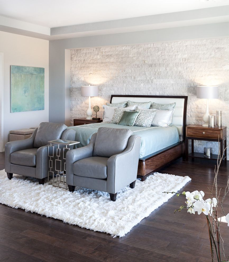 Lazy Boy Lift Chairs   Contemporary Bedroom Also Cavitt Ranch Garnite Bay Gray Chairs Light Blue Accents Luxury Master Bedroom Modern Sacramento Showhouse Stone Stone Wall White Rug