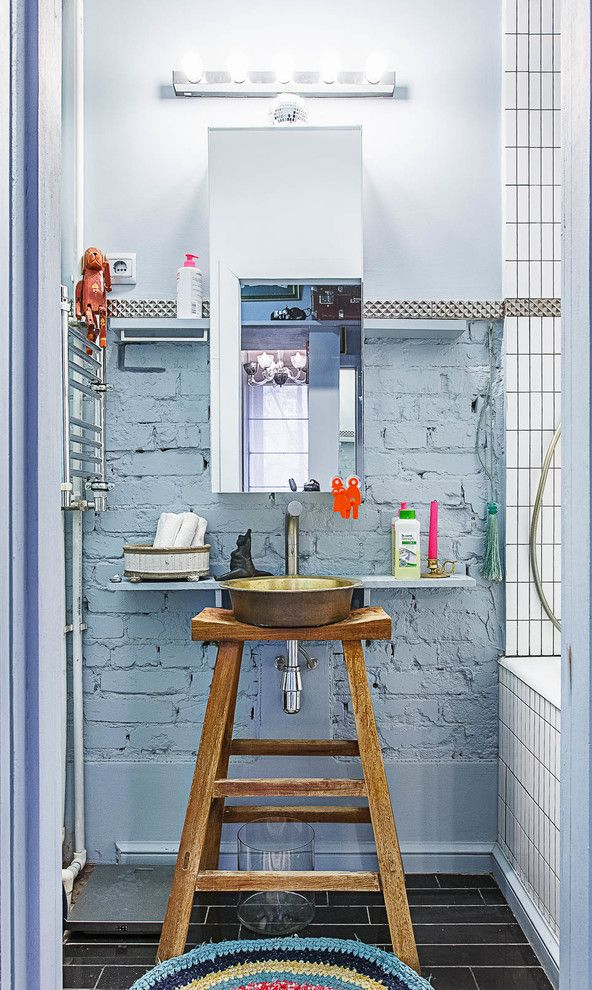 Leather Vanity Stool   Eclectic Bathroom  and Blue Gray Compact Spaces Custom Vanity Exposed Brick Painted Brick Small Bathrooms Small Spaces Stool Sink Stool Vanity Vessel Sink