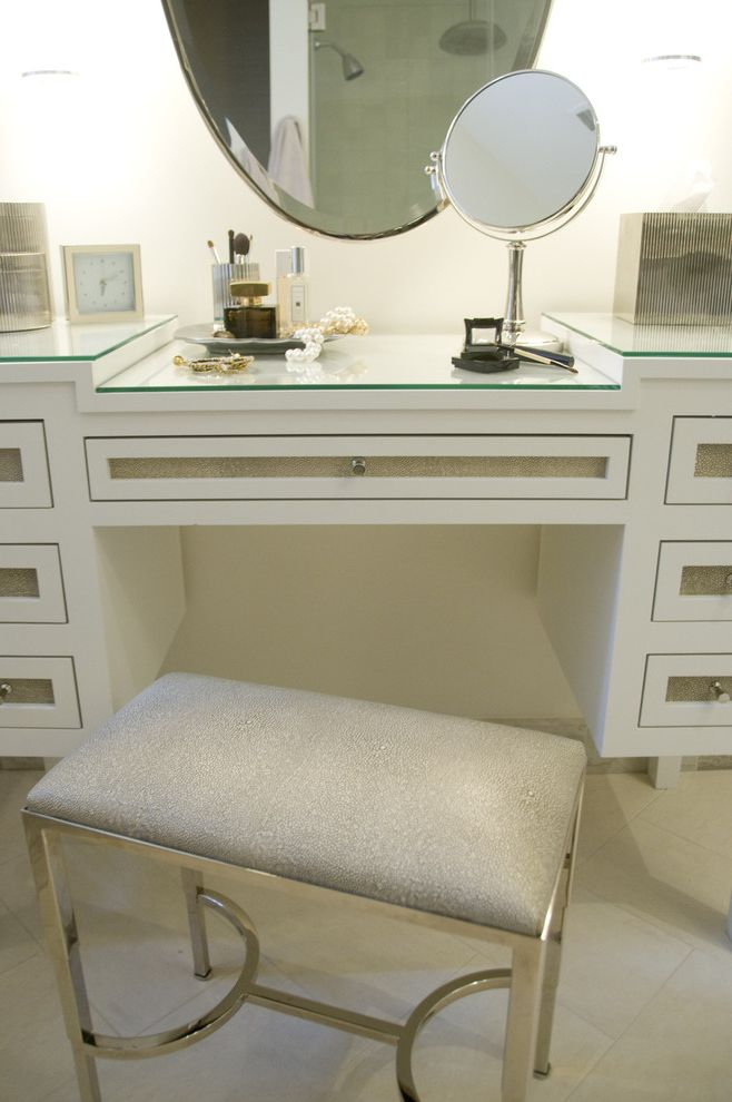 Leather Vanity Stool   Transitional Bathroom Also Leather Oval Mirror Shagreen Stool Vanity Waterworks
