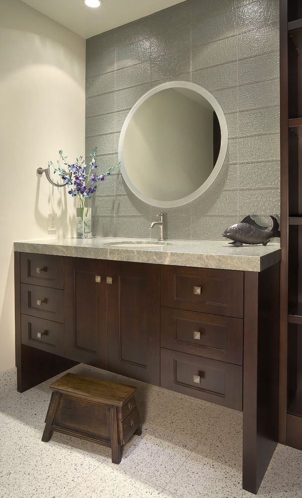 Leather Vanity Stool With Contemporary Bathroom Also